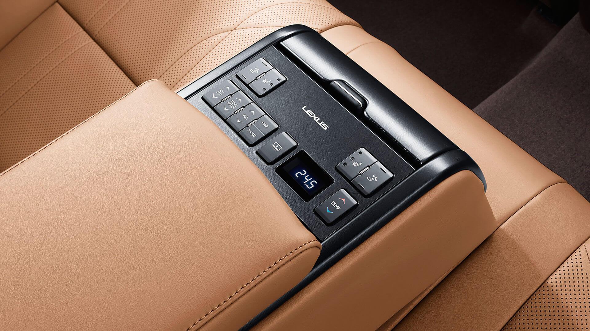 2019 lexus es hybrid experience feature rear seat control panel