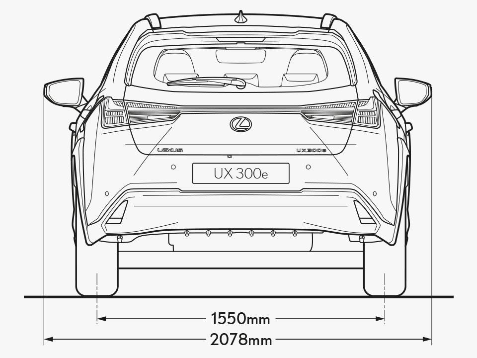 UX 300e Rear Dimensions Image
