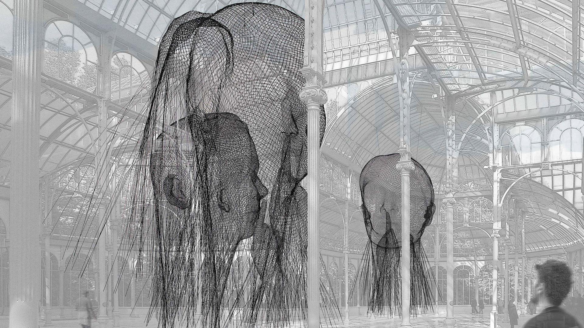 Imagen de la instalación de Jaume Plensa en el Palacio de Cristal de Madrid