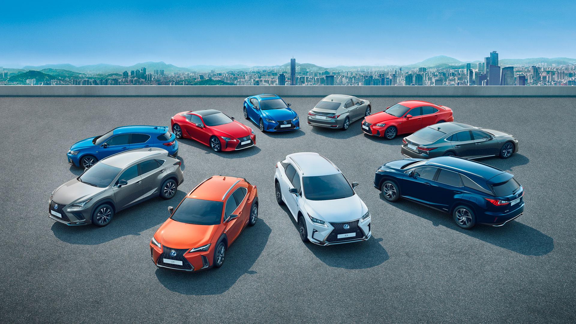 Imagen de la gama híbrida de Lexus
