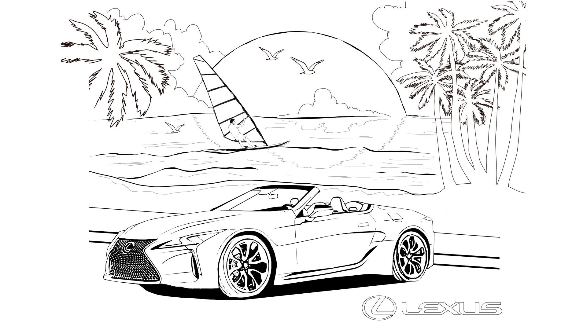 Imagen de Lexus ilustrado en blanco y negro