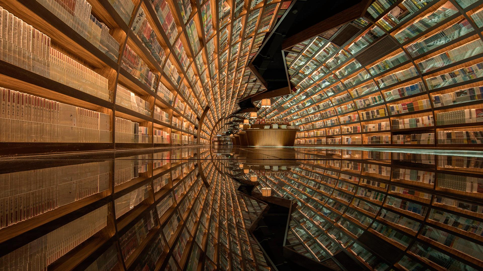 Una librería de cuento hero asset