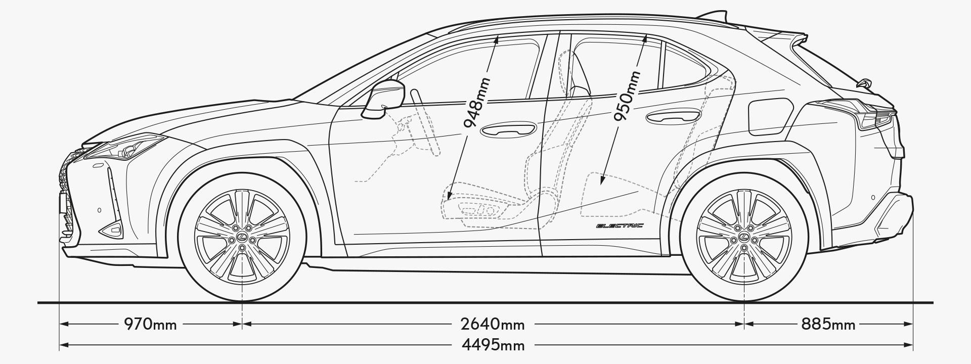 UX 300e Side Dimensions Image