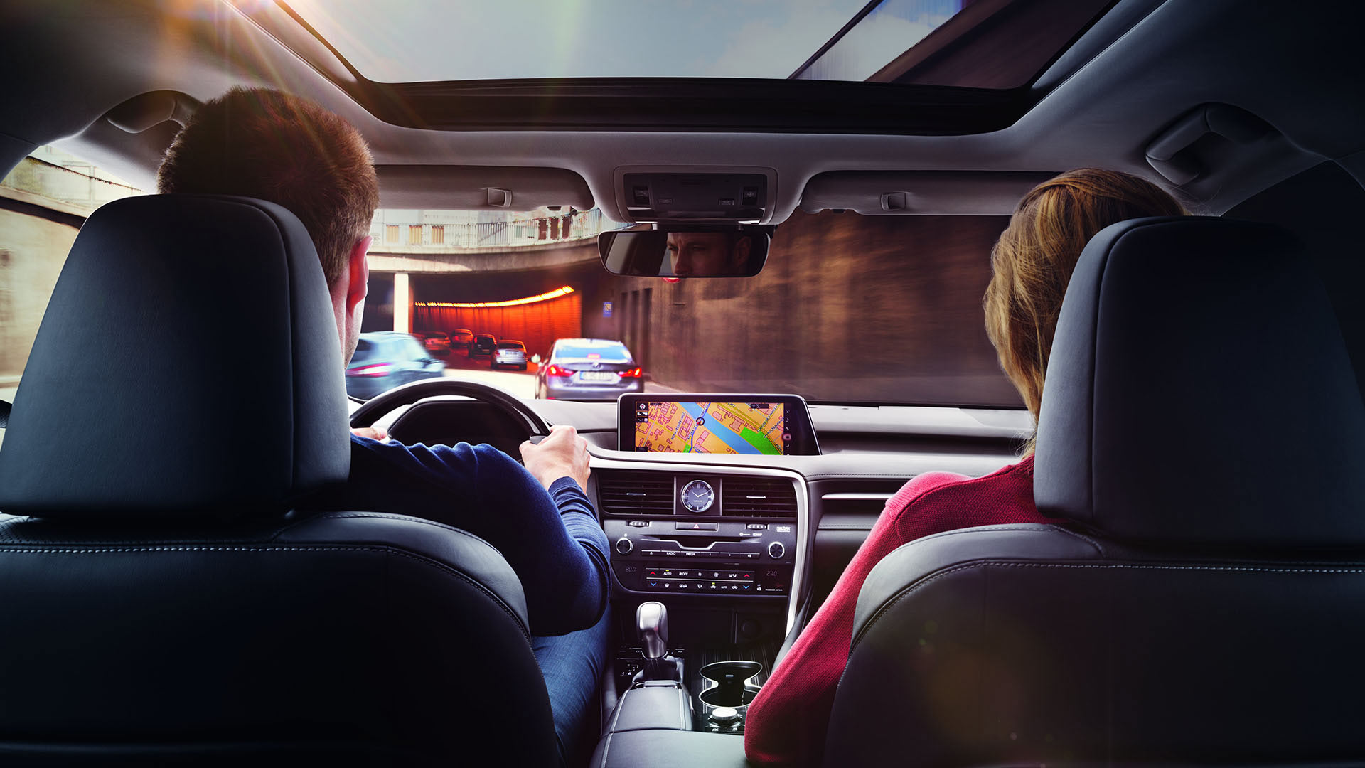 A couple using a Lexus navigation system